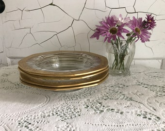 Vintage Glass Bowls with Gold Edge