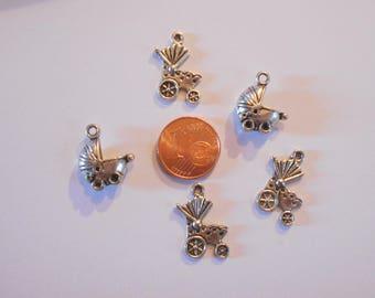 5 charm pendant antiqued silver tone cribs