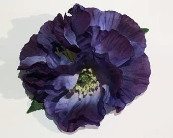 Purple Blue Poppy Trio Remembrance Hair Flower