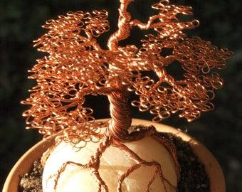 Copper Wire Bonsai Sculpture