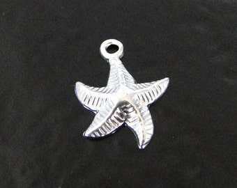 One Sterling Silver  Starfish Charm, Made in USA, SC7