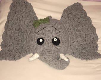 Crochet elephant pillow
