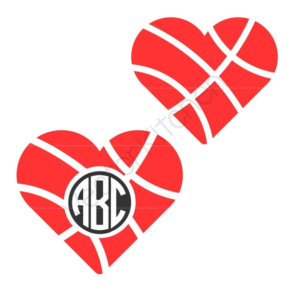 heart shaped basketball ball with and without monogram circle rh etsy com Basketball Black and White Heart baseball heart clipart