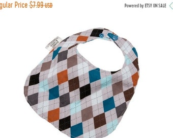 Spring Sale Grey Argyle - Infant or Toddler Bib - ADJUSTABLE snaps - REVERSIBLE