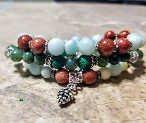 3 Strand Diffuser Power Bracelets - Amazonite, Jade, Sunstone and Lava rock. Yoga, meditation, chakra, mala, buddhist, reiki