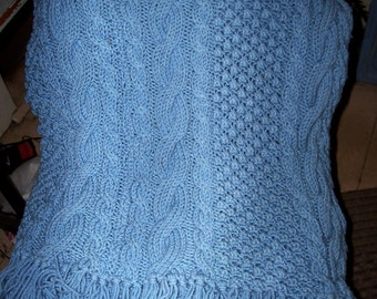"Hand Knit Knitted Cable Afghan Lap Throw  Blanket : 48"" X 72"""