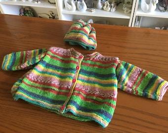 Baby Handmade Sweater and Hat Set - 6-12 mo.
