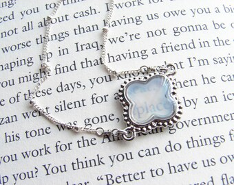 Mother of Pearl Clover Bracelet. Sterling Silver Satellite Chain. Bridesmaid Gift. Simple Modern Jewelry ~ Valentine's Day