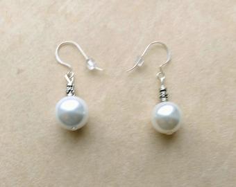 Genuine South Sea 14 mm Pearl Earrings, Large OffWhite Pearl Earring, Sterling Silver Ear Wire, Bridal Birthday Anniversary by enchantedbeas