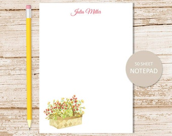 personalized notepad, note pad . berry notepad . watercolor raspberry,  rose hips . fall fruits personalized stationery . stationary gift