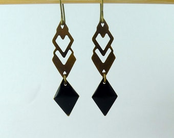 """""""Aztec"""" in bronze with print and sequin black diamond earrings"""
