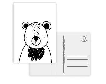 Black and white bear card