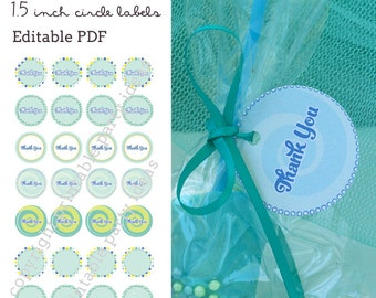 "Twisting by the Pool Party 1.5"" circle labels - editable PDF - add your own text"