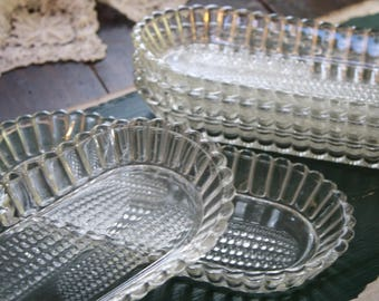 Vintage Glass Corn on the Cob Dishes 5 Bowls Ear of Corn Relief Fluted Sides Clear Glass Kitchen Vintage Retro Serving Dishes Plates