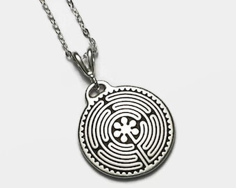 """Chartres Labyrinth Necklace 18"""" Sterling Silver Cable Chain Tierracast Pendant"""