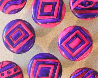 SEVEN pink n purple FUNKY handpainted knobs- SALE