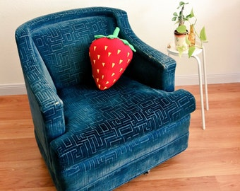 Pop Art Strawberry Pillow - Red Berry Cushion for Fruit Naps