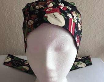 Women's Cancer Hat - Chemo Hat - Scrub Cap - Hair Loss - Head Coverings - Chemo Comfort - Snowmen