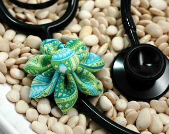Stethoscope ID Tag Flower- Lime Paisley Blossom