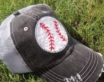 Baseball Bling Ladies Womens Trucker Hat