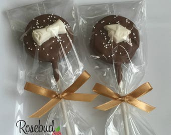 Chocolate Graduation Cap & Diploma Oreo Cookie Lollipops Sprinkles Candy Party Favors