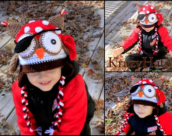 Crochet Pirate owl hat. Crochet pirate owl hat.