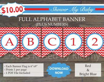 70% Off SALE- Red and Blue  FULL ALPHABET (+ Numbers) Banner - Printable Baby Shower Banner- Red Bright Blue - Chevron Party Baby Name