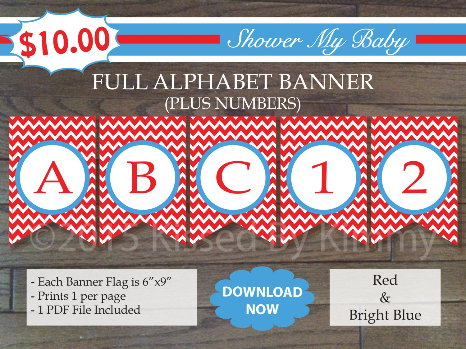70% Off SALE Red and Blue FULL ALPHABET Numbers Banner