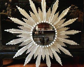 """Sunburst Mirror in silver (appx 32"""" diameter)"""