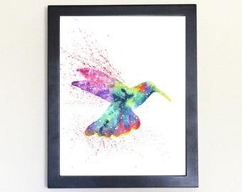 Hummingbird Art Print, Galaxy Spirit Animal Watercolor 8x10