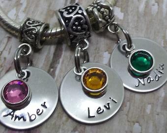 Hand Stamped,  Circle plate, Names, Grandma, Nana, Mimi, Mother, MONOGRAMMED,Birthstone, add to Pandora or charm Bracelet