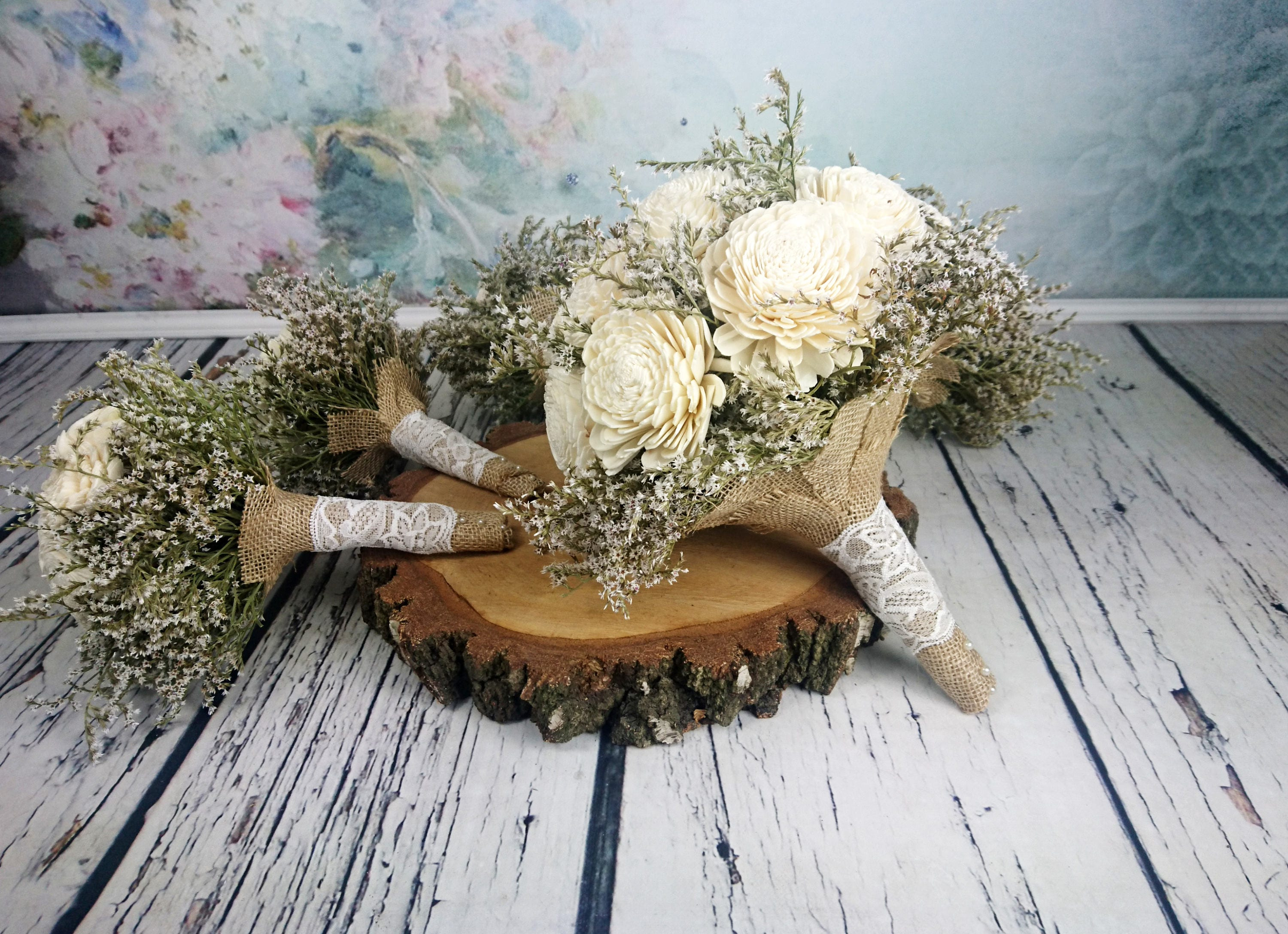 Simple bridal flowers package big bridal 5 small bridesmaids simple bridal flowers package big bridal 5 small bridesmaids bouquets ivory cream rustic wedding dried limonium burlap lace flower girl toss izmirmasajfo Images