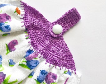 Crocheted Top Tea Towel,  Purple and Blue Flowers, Crochet Kitchen Dish Towel, Flower Crocheted Tea Towel for Kitchen CTEA036