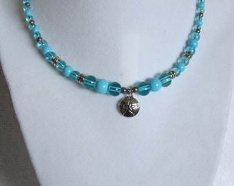 Aqua and Silver Sand Dollar, Short Necklace
