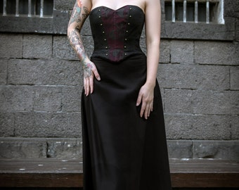Steampunk Corset - Gothic Studded Victorian Steam Punk Skull Costume Formal Black Vest Top - MADE TO ORDER