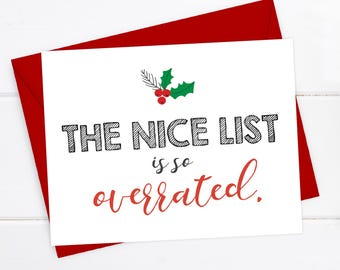 Boyfriend christmas card funny christmas card girlfriend funny christmas card christmas card xmas card quirky snarky greeting card the nice list is so overrated m4hsunfo