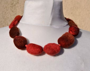 Felted necklace, fibre art, gift, felted stones