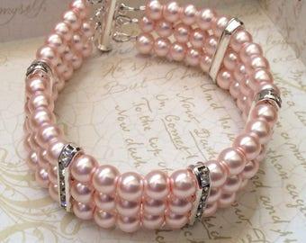 Rosealine Cuff Bracelet, Wedding Cuff Bracelet, Bridal Jewelry, Pink Wedding Bracelet, Bridesmaid Jewelry, Pearl Cuff Bracelet, Pink Pearl
