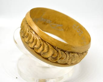 Carved wooden bangle bracelet. Wood carving, made in Russia
