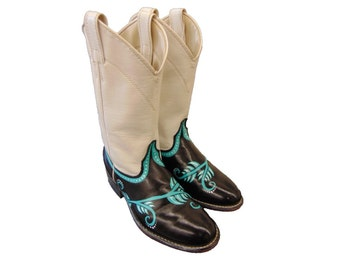 Hand Painted Leather Boots Black Teal & White Upcycled Vintage Cowboy Boots OOAK Women's Size 6