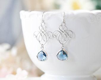 Navy Earrings Silver Filigree Navy Blue Sapphire Blue Earrings Navy Wedding Jewelry Bridal Bridesmaid Earrings September Birthstone Jewelry