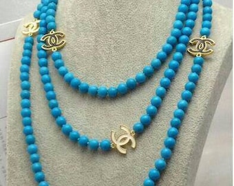 Handmade CC Logo Chanel Inspired Blue Turquoise Pearl CC Logo Necklace