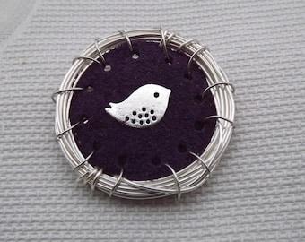 Bird Brooch Pin Bird's Nest Brooch