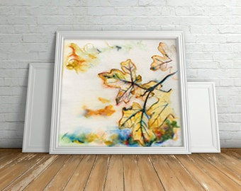 Wall art Watercolor Print . Leaves Art digital print .Autumn Leaves Landscape art painting print.