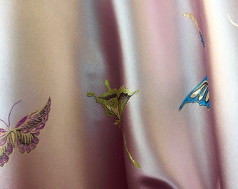 Lia LIGHT PINK Butterfly Brocade Chinese Satin Fabric by the Yard - 10077