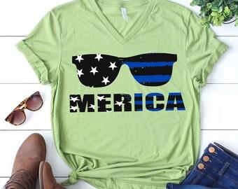 Merica svg, Sunglasses svg, Thin blue line svg, Police svg, American flag svg, Law enforcement svg, distressed svg, SVG, DXF, eps, png