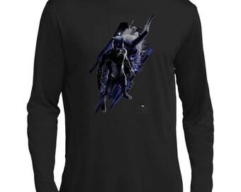 Marvel Black Panther Vs Kilmonger T Shirt Men's Long Sleeve Moisure Absoring