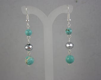 earrings, turquoise earrings, blue earrings, drop earrings, dangle earrings, crystal earrings
