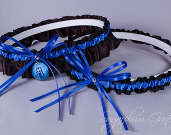 Doctor Who Tardis Wedding Garter Set - Ready to Ship