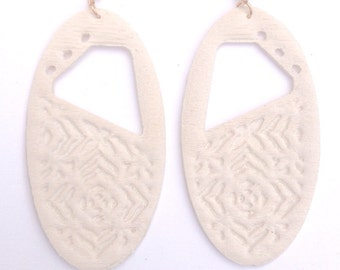 Carved Oval Earrings